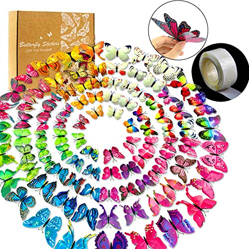 YGEOMER 96pcs 3D Butterfly Removable Mural Stickers Wall Stickers Decal with Double Wing, 8 Colors,with 1 Sheet of Dot Glue Stickers Per Pack