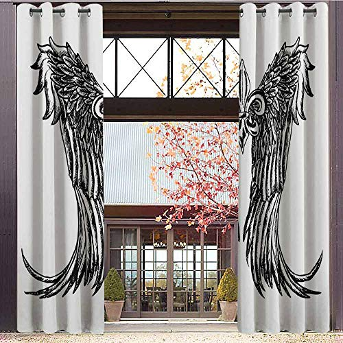 hengshu Medieval Room Darkened Insulation Grommet Curtain Tribal Wing Design Magic Spell Middle Ages Symbol of Power Artistic Design Living Room W72 x L96 Inch Black and White (Grommet Spell)