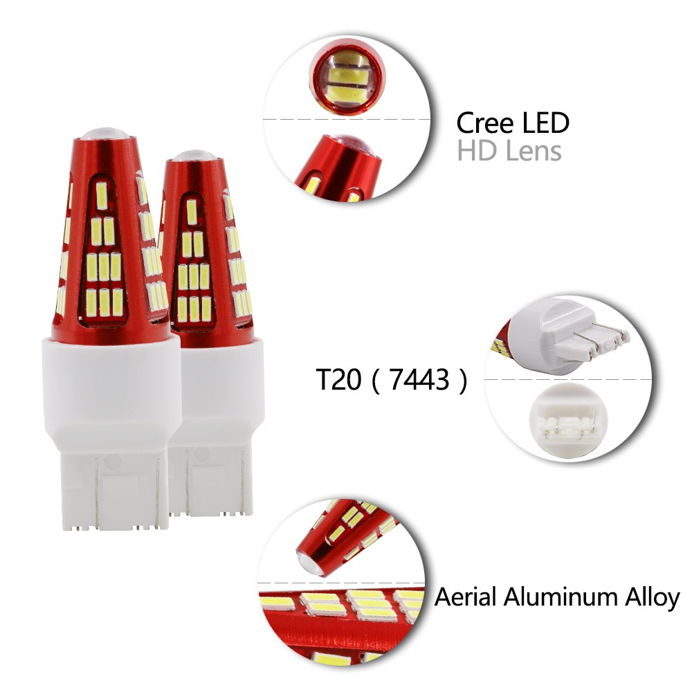 Pack of 2 RCJ T20 7743 580 582 W21//5W 4014 48 SMD CREE LED Indicator High Power Super Brighter LED Brake Lights Reversing Lights Turn Signals Taillights Lights Stop Light Fog Lights White