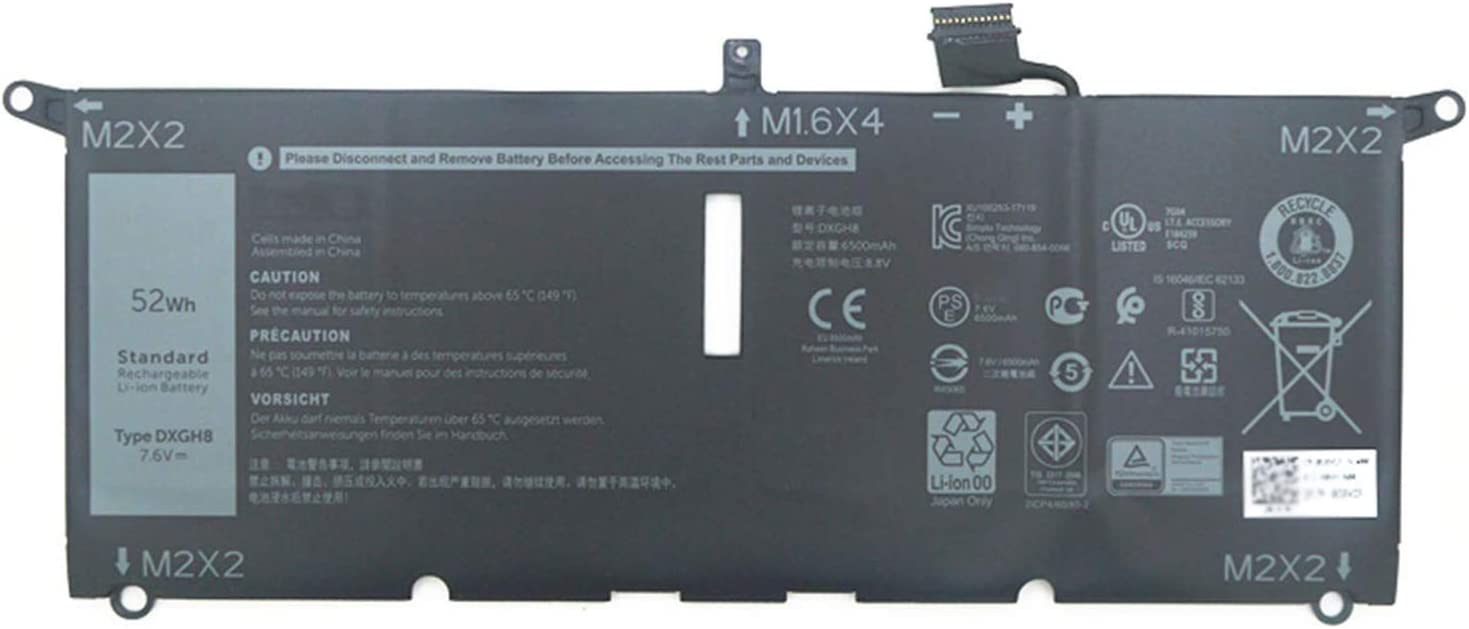 Dentsing 7.6V 52Wh/6500mAh DXGH8 Laptop Battery Compatible with Dell XPS 13 9370 9380 0H754V FHD 13-9370-D1705S Series Notebook G8VCF P82G