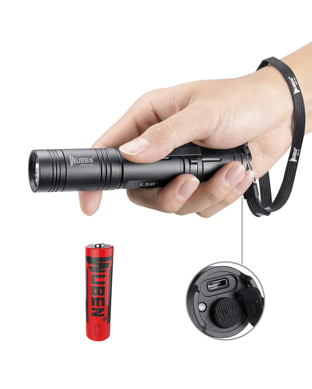 Linterna LED / Táctica Militar Linternas Alta Potencia Linterna de Mano WUBEN Antorcha 1200 LM Medido Flashlight LED, Resistente al agua IPX8 ,5 Modos ,Con batería 18650 ,para Ciclismo Camping [Clase de eficiencia energética A+++]