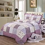 100% Cotton 3-Piece Stitching Reversible Patchwork Quilted Throw and Quilted Bedspreads Quilt Sets Queen, Purple