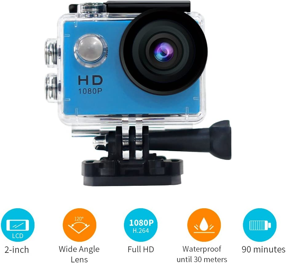 YUNTAB Sport Action Camera Vlog DV, HD 1080P 2.0 inch, 5MP, 120 Degree Wide-Angle, 30m Underwater Waterproof Camcorder(Blue)