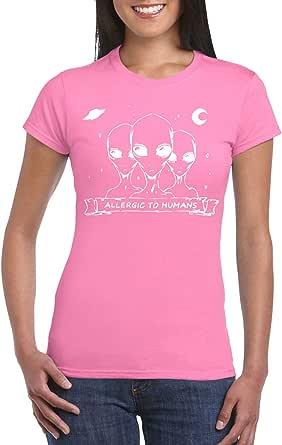 Pink Female Gildan Short Sleeve T-Shirt - allergic to humans design