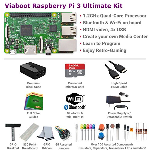 Viaboot Raspberry Pi 3 Ultimate Kit — Official Micro SD Card, Premium Black Case Edition by Viaboot (Image #1)