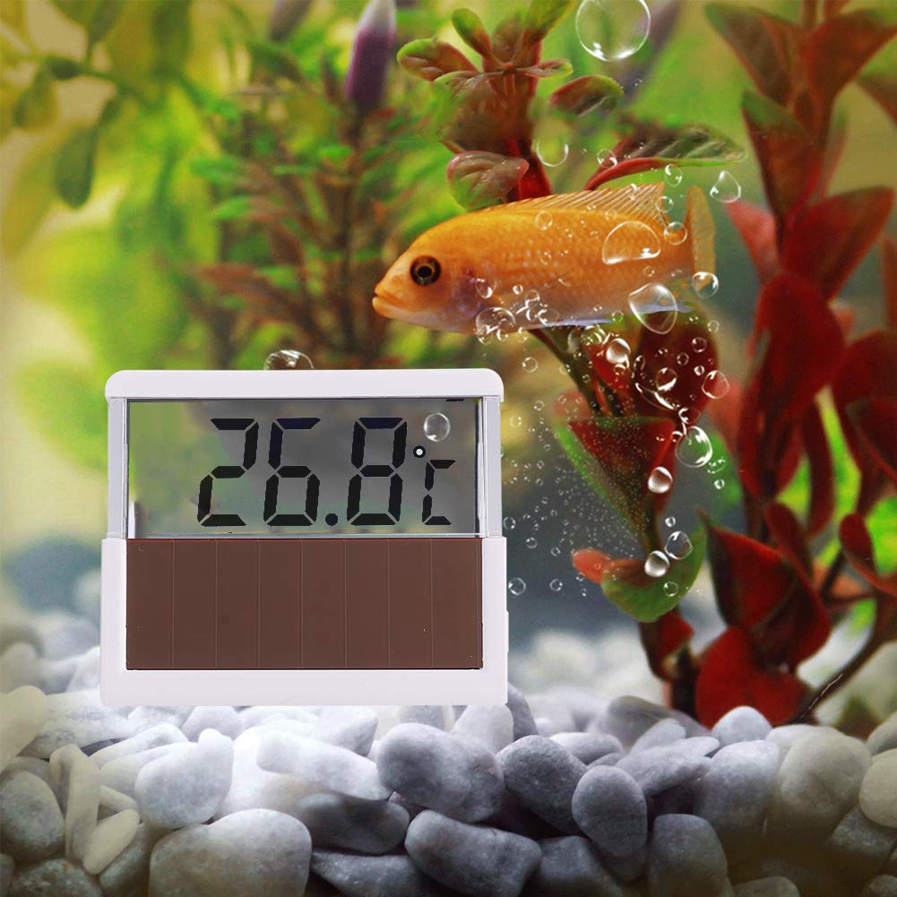 WXJHA Solar Aquarium Thermometer,Digital Display Aquarium Fish Tank Solar Thermometer Temperature Measuring Tool by WXJHA