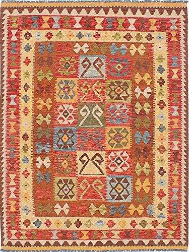 Ecarpetgallery Hand-woven Hereke Kilim Panel 4' x 6' Red 100% Wool area rug - Panel Red Area Rug