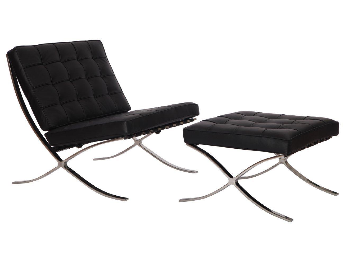 Amazon com emodern furniture emod modern pavilion barcelona chair italian leather black with ottoman kitchen dining