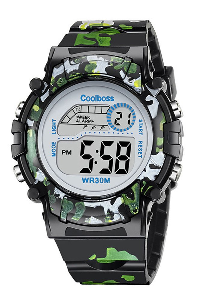 Fashion Sport Students Children Boys Girls Waterproof LED Digital Multifunction Rubber Quartz Watch (black camouflage)