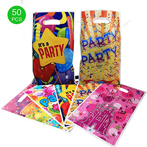 Gift candy bags for kids birthday & party, 6.5 x 10 in,50 bags with 5 types of patterns plastic bags,USE for party,Gift,candies,goodies,small toys,chocolates