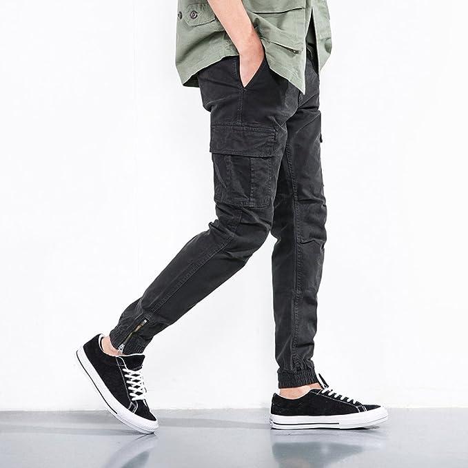 YoungSoul Pantalones para Hombres - Chinos Joggers con Bolsillos Cargo y  Puño de Cremallera Gris 38  Amazon.es  Ropa y accesorios a9c04e696c91
