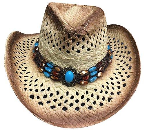 MINAKOLIFE Men's & Women's Western Style Cowboy / Cowgirl Straw Hat (Blue)