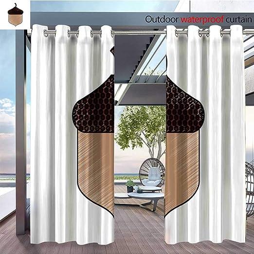 QianHe - Cortina de privacidad para Exteriores para pérgola de Roble, Hojas, bellotas, Aislante térmico y Repelente al Agua para balcón: Amazon.es: Jardín