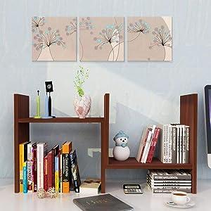 Garwarm Desktop Organizer,Office Storage Rack Adjustable Wood Display Shelf,Counter Top Bookcase,Teak