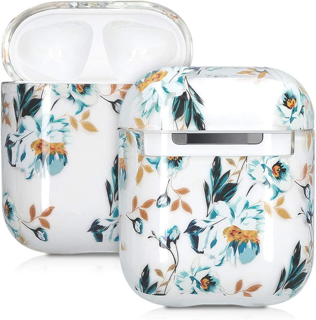 kwmobile Earphones Case Compatible with Apple AirPods - Anti-Scratch Protective Two-Part Earbuds Case - AirPod Flowers Blue/Yellow/Transparent