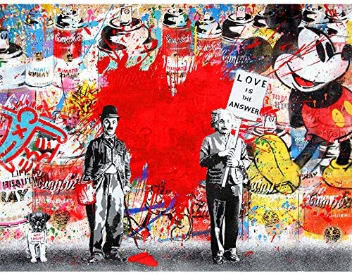 Faicai Art Banksy Graffiti Art Wall Art Canvas Paintings HD Printed Abstract Street Art Posters and Prints Life is Short Chill The Duck Out Pop Art Printings Modern Wall Decor Wooden Framed 12x16