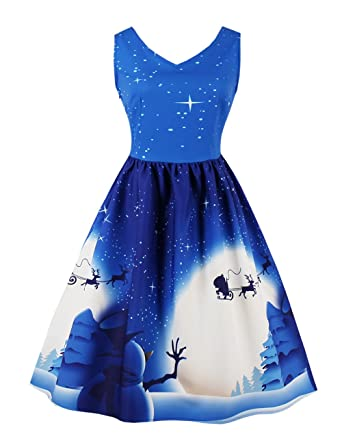 38e42b44907 VKStar® Weihnachtsdruck Rockabilly Kleid 1950er Retro Damen Herbstkleid  Winter Abendkleid Partykleid Vintage Festliches Kleid Schneemann 4XL   Amazon.de  ...