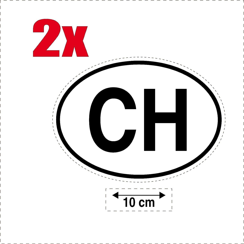 2x Autocollant sticker drapeau oval code pays voiture moto CH-SUISSE