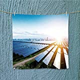 L-QN camping microfiber towelsolar panels with the sunny sky blue solar panels background resort,hotels/Motels,gym use W19.7 x W19.7