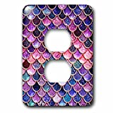 3dRose Uta Naumann Faux Glitter Pattern - Multicolor Girly Trend Pink Luxury Elegant Mermaid Scales Glitter - Light Switch Covers - 2 plug outlet cover (lsp_272859_6)