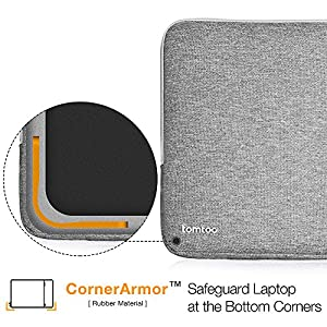 Tomtoc Drop-proof Laptop Sleeve for 13 - 13.3 Inch MacBook Air | MacBook Pro Retina Late 2012 - Early 2016 | 12.9 Inch iPad Pro, 360° Protective Chromebook Tablet Case, Spill-Resistant, Gray