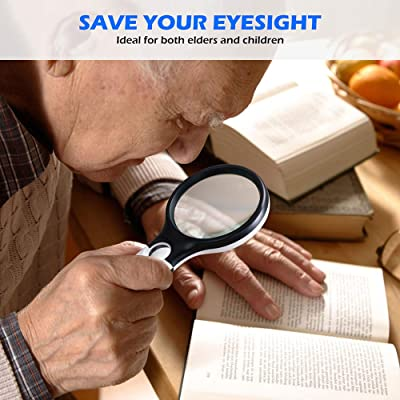 Coins Jewellery Hobbies /& Crafts Inspection SHENGQIDZ Magnifying Glass with Light for Close Work,3X 45X Handheld Large Magnifier,Magnifying Glass for Reading Macular Degeneration