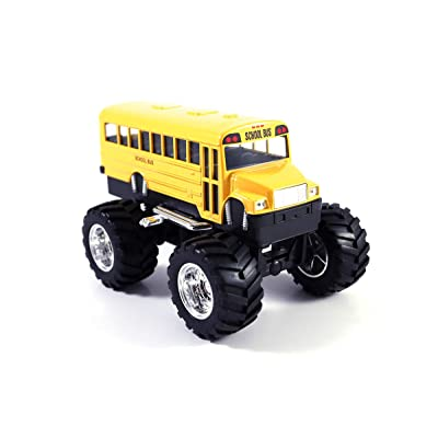 HCK Classic School Bus Big Wheels - Off Road Monster Truck Pull Back Toy Cars 1:42 Scale (Yellow): Toys & Games