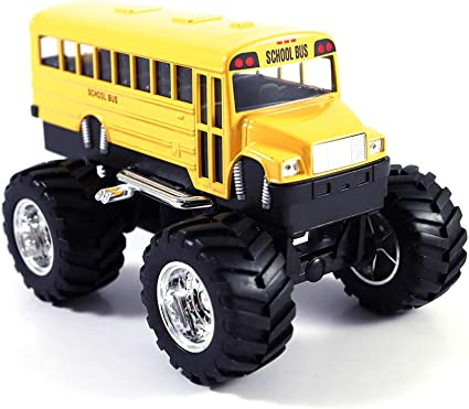 Amazon Com Hck Classic School Bus Big Wheels Off Road Monster Truck Pull Back Toy Cars 1 42 Scale Yellow Toys Games