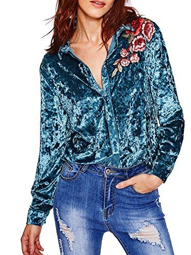 Velvet Button Down Shirt - 8