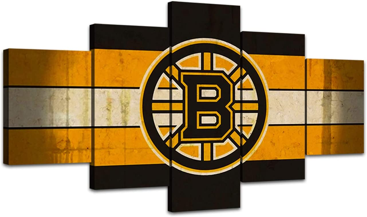 AsheArt Wall Art Ice Hockey NHL Pictures Canvas Posters Living Room Decor Sports Boston Bruins Home Decoration Prints Framed Paintings Ready to Hang(60''Wx32''H)