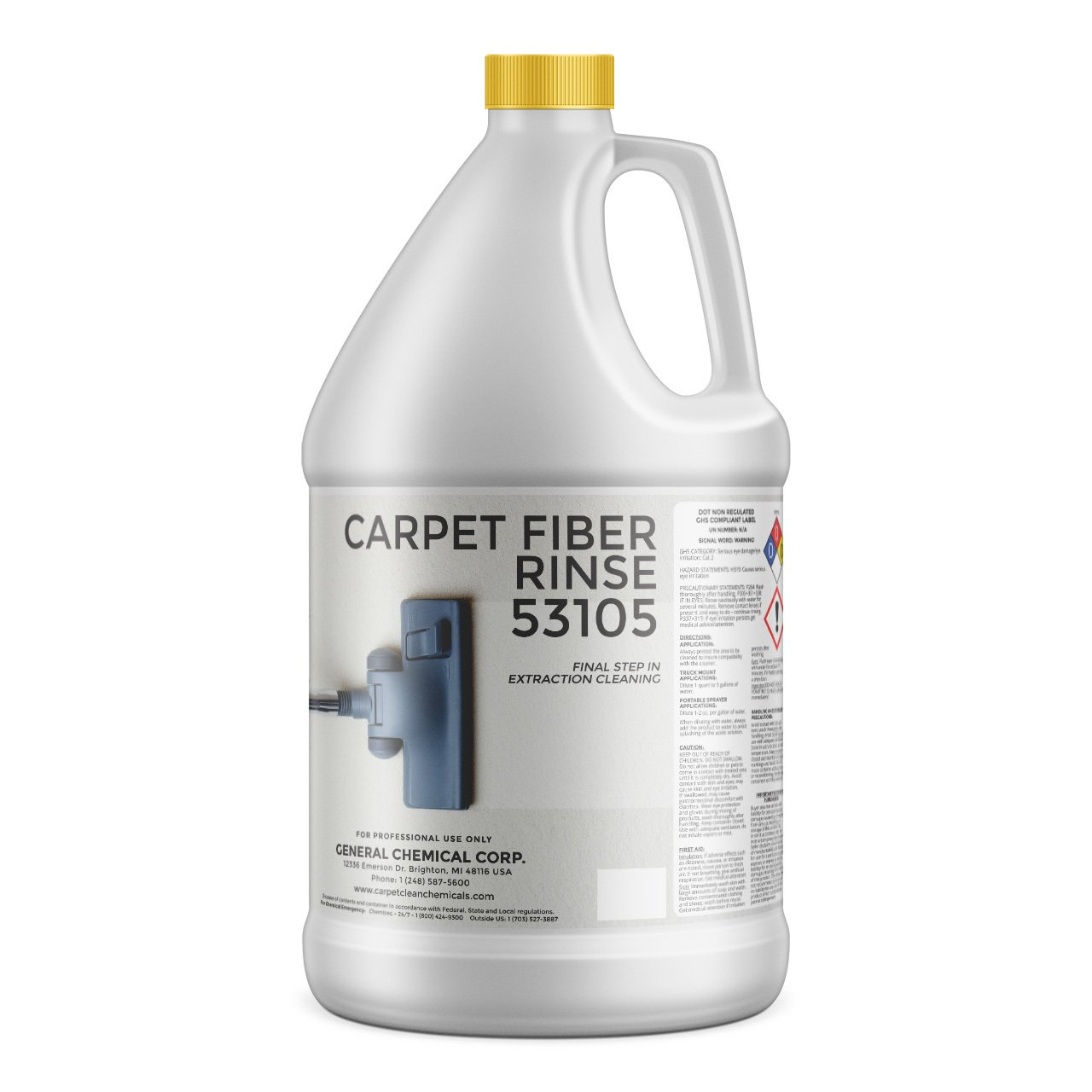 CarpetGeneral Carpet Fiber Rinse Professional Residue Attracting Agent | Prevents Browning, Yellowing & Bleeding of Carpet & Upholstery Dye | Residential & Commercial Use | Final Step | 1 Gallon