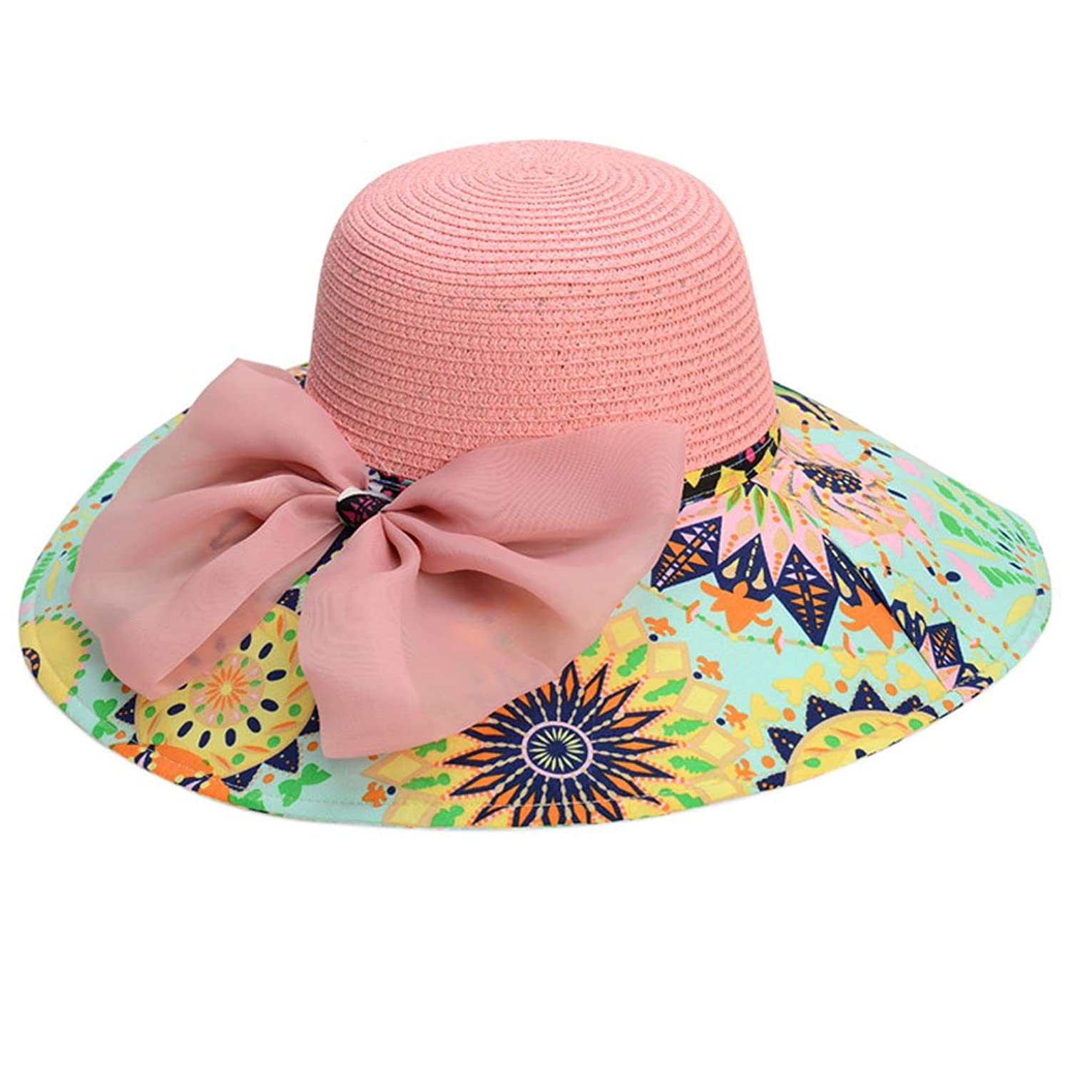 Mlotus Fashion Ladies Bowknot Summer Beach Sun Hat Visor Foldable Big Wide Brim Straw Hats Cap