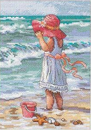 Girl Cross Stitch Kit (Dimensions Needlecrafts Counted Cross Stitch, Girl At The Beach)