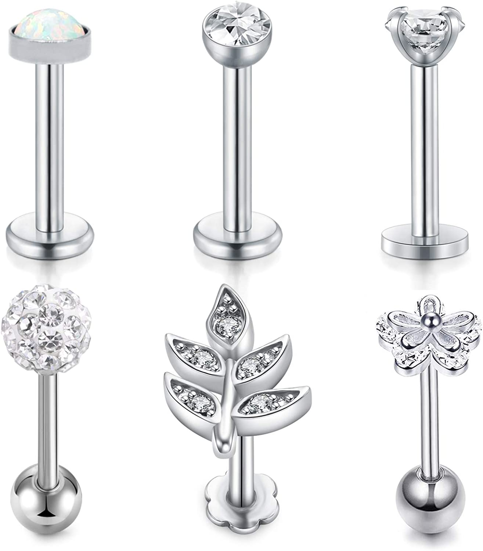 JFORYOU 4-6 Pcs Earrings Cartilage Tragus Earrings 16G Surgical Steel Opal & CZ Rook Hoop Helix Conch Snug Daith Piercing Jewelry for Women Men