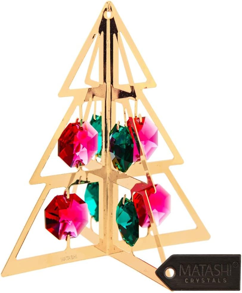 Matashi 24K Gold Plated Christmas Tree Hanging Ornament Crystal Studded Party Decor - Great Gift for Birthday Christmas