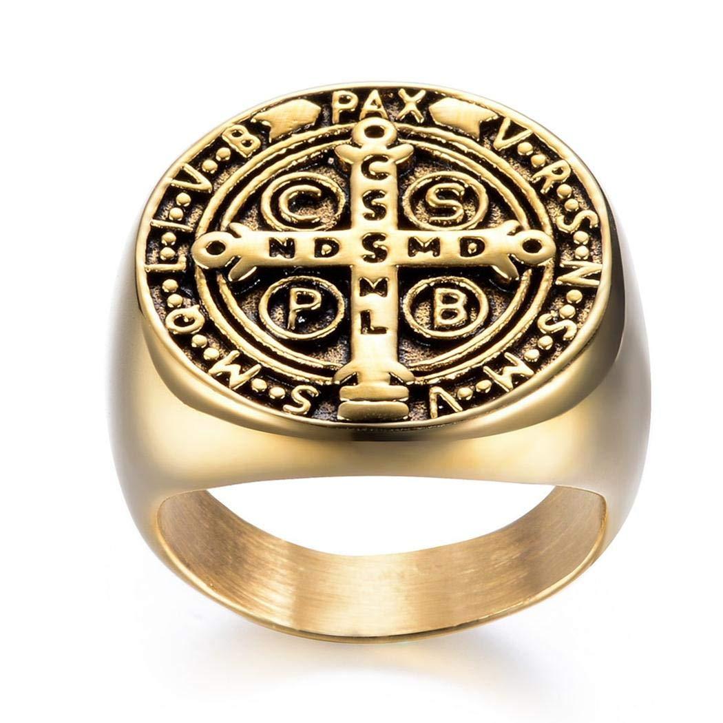 JEWURA Biker Ring Punk Style Gold Cross Fashion Stainless Steel Jewelry