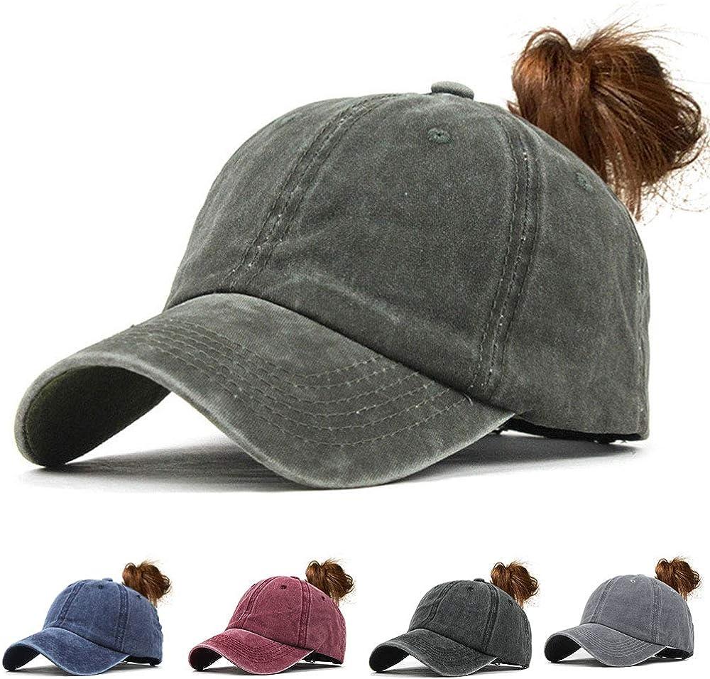 CheChury Casquette de Baseball Femme Vintage Chapeau Queue De Cheval R/églable Casquettes de Sport Outdoor Trucker Baseball Hat