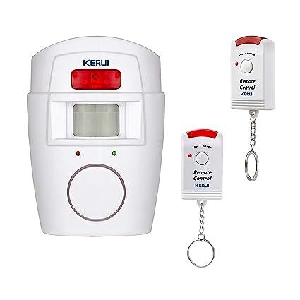 Kerui Alarma inalámbrica por infrarrojos, sensor de movimiento, sirena de 105 dB, sistema
