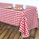 LinenTablecloth 60 x 102-Inch Rectangular Tablecloth Red & White Checker