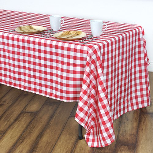LinenTablecloth 60 x 102-Inch Rectangular Tablecloth Red & White ()