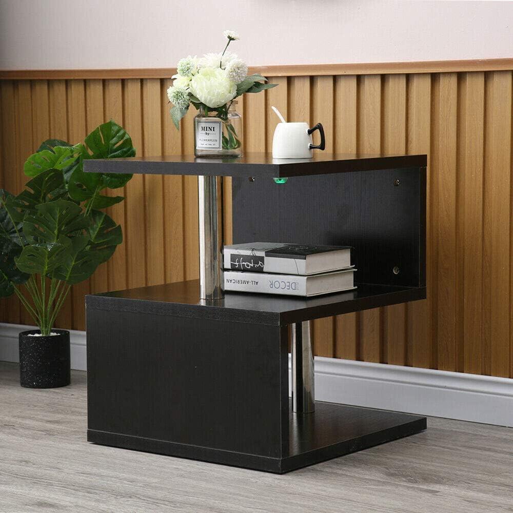 Amazing Tour Table dAppoint Moderne Table de Chevet en Forme de S /Étag/ères de Stockage Table Basse /à Caf/é pour Salon Chmabre Blanc