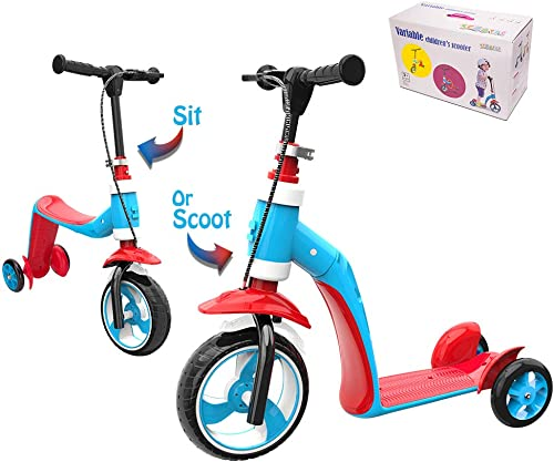 Verkstar Kick Scooter for Kids Toddlers Girls Boys, 2 in 1 Kids Scooter with Handbrake, Adjustable Handle, Extra-Wide Deck, The Latest Outdoor Toys for Kids Activities Red Blue