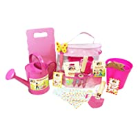 Little Pals Childrens Gardening, Growing, Planting Set with Gloves, Tools, Pots, Markers, Kneeler, Giant Sunflower Seeds