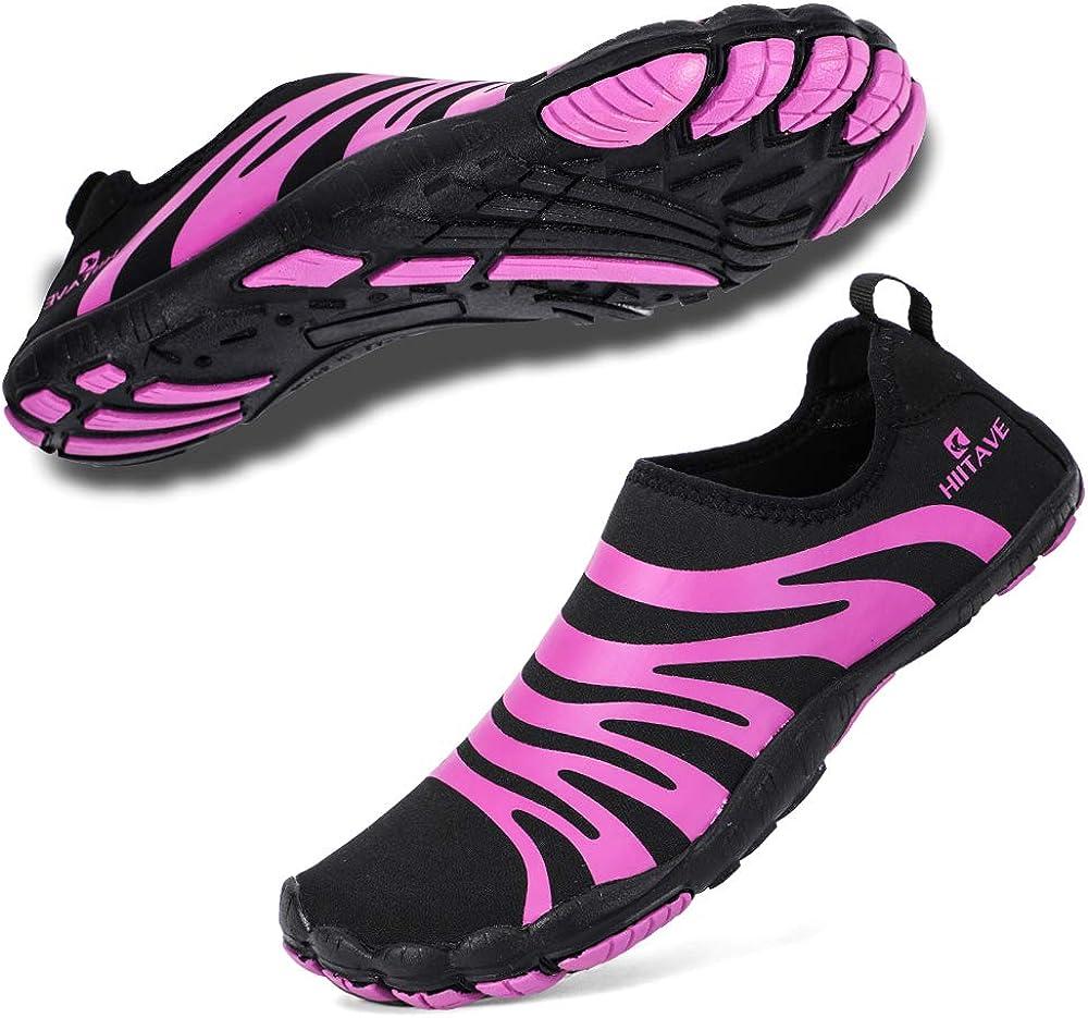 hiitave Women Water Shoes Quick Dry Barefoot Aqua Socks Beach Swim Diving Surf Pool Yoga
