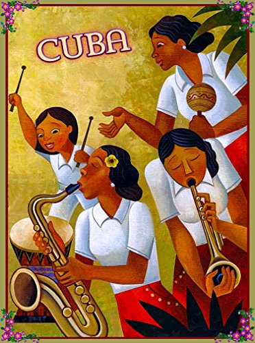 A SLICE IN TIME Cuba Cuban Havana Habana Bongo Girls Caribbean Island Isle Travel Art Advertisement Collectible Wall Decor Poster Print. Measures 10 x 13.5 inches