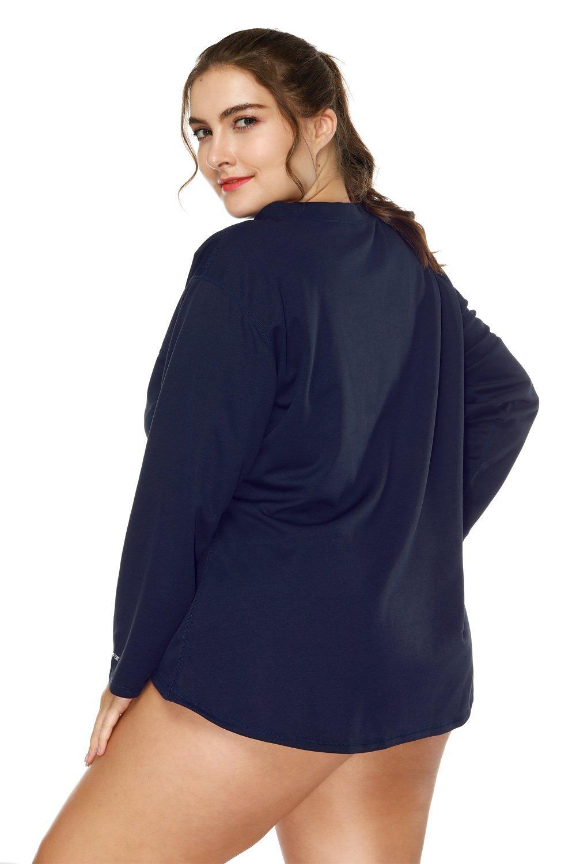 97feca08bdb8c Amazon.com  V FOR CITY Women s Plus Size Rash Guard Long Sleeve Swim Shirt  Rashguard UV Protection Swim Top  Sports   Outdoors