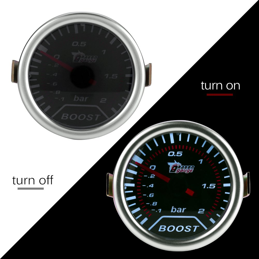 Amazon.com: Qiilu 2 Inch (50mm) Universal Car Red Led Turbo Boost Press Gauge Meter Bar Pointer 12V: Electronics