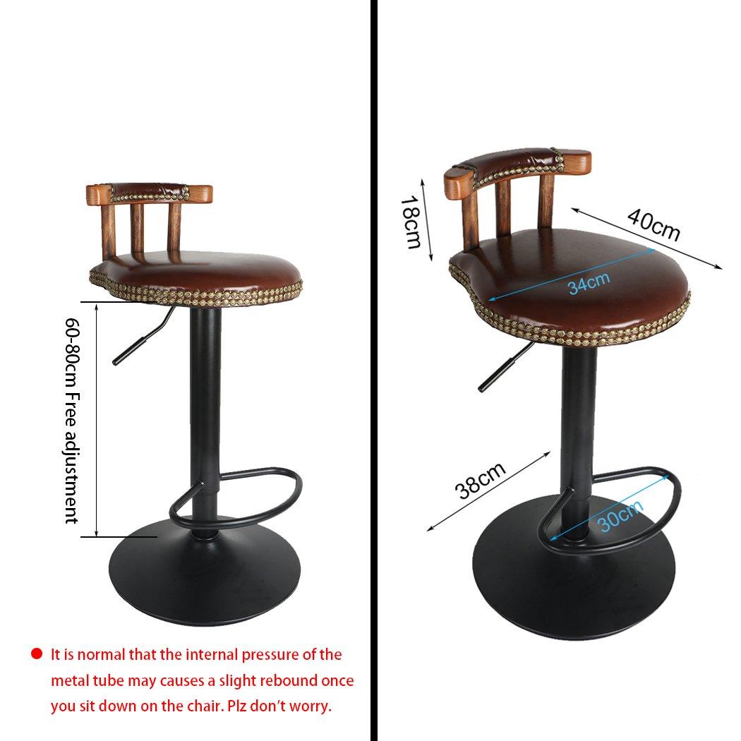 UNHO Bar Stools Set of 2 Vintage Rustic Kitchen Pub Wooden Retro Round Leather Seat Adjustable Swivel High Leg Lifting Elegant Swivel Backed For Breakfast Bar Stool Kitchen Counter,Brown