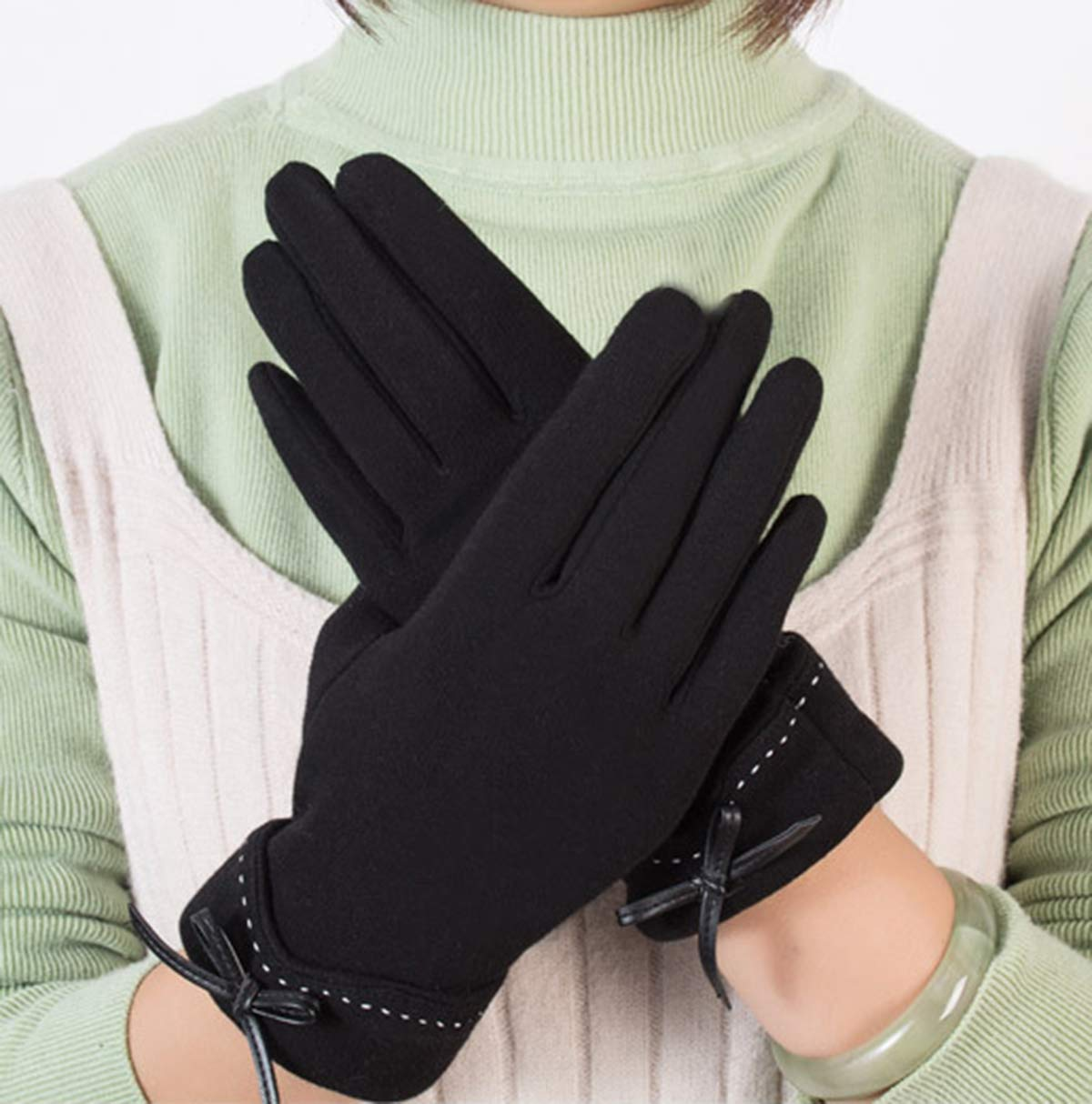 Spikerking Womens Winter Gloves With Touch Screen And Warm Liners,Black