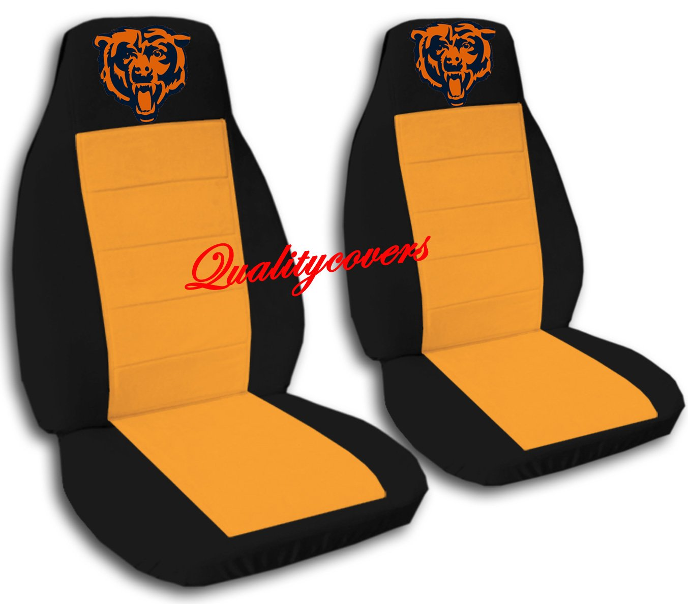 2 Black and Orange Chicago seat covers for a 2007 to 2012 Chevrolet Silverado. Side airbag friendly.